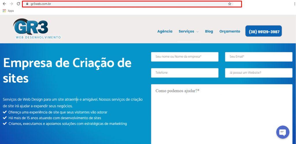 endereço de domínio de um website
